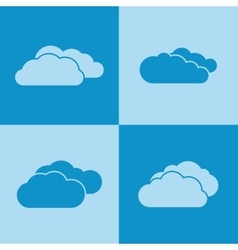 Cloud icons on blue background vector image