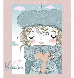 cute girl with valentines card vector image