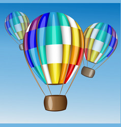 hot air balloon flying in the sky vector image vector image