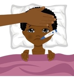little african american boy ill in bed vector image