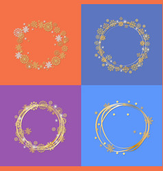 set of four circle frames vector image