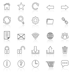 Tool bar line icons with reflect on white vector image