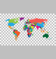 blank colorful world map on isolated background vector image