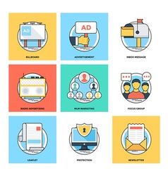 Flat Color Line Design Concepts Icons 19 vector image vector image