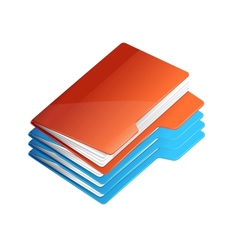 Four folders with paper Folder stack vector image