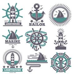 marine nautical sailor symbols heraldic anchor vector image
