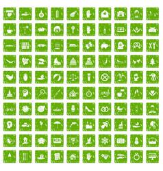 100 joy icons set grunge green vector