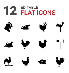 12 cock icons vector