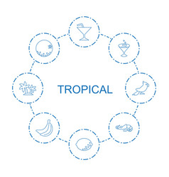 8 tropical icons vector