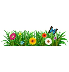 A butterfly in the garden with blooming flowers vector image