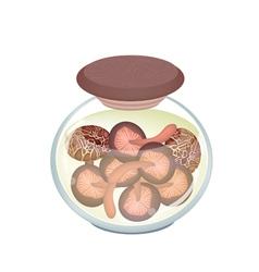 A Jar of Delicious Marinated Shiitake Mushrooms vector image