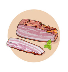 A large piece of bacon and sliced piece with green vector