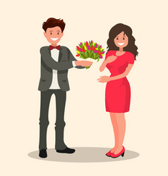 A man gives woman bouquet of flowers vector
