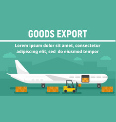 Airplane goods export concept banner flat style vector