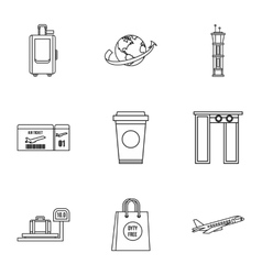 Airport check-in icons set outline style vector image