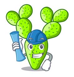 architect cartoon opuntia cactus in the desert vector image