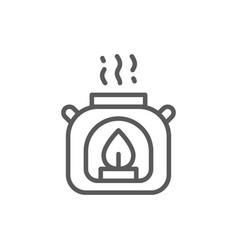 Aroma lamp gas burner line icon vector