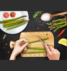 Asparagus cutting hands realistic vector