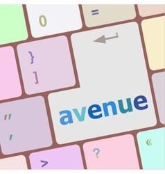 Avenue word on keyboard key notebook computer vector