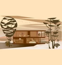 Background with full glazing cottage vector