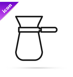 Black line coffee turk icon isolated on white vector