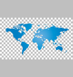 Blank blue world map on isolated background world vector