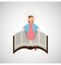 Blessed virgin mary with bible design vector