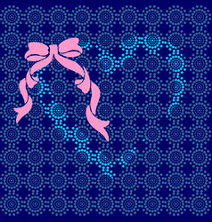 blue heart with a pink bow vector image