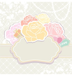Bouquet of roses with an empty cartouche vector