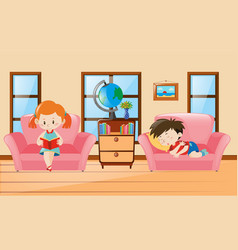 Boy and girl in living room vector