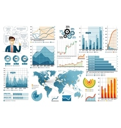 Business Infographic elements set in flat design vector image