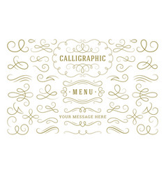 calligraphic design elements vintage ornaments vector image