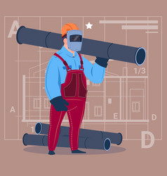 cartoon builder wearing welding mask hold piping vector image