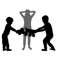 Children fight over toy woman holding head vector