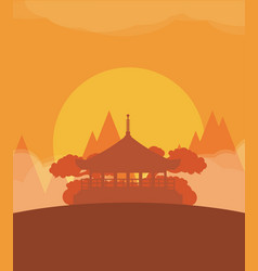 china flat design travel sunset vector image