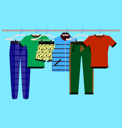 Clothes racks with wear on hangers set vector
