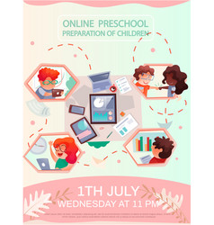 Colleagues create educational course online vector