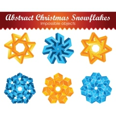 collection of six impossible christmas snowflakes vector image vector image