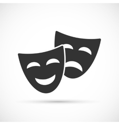 Comedy and tragedy theatrical masks icons vector