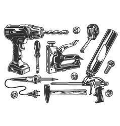 Construction tools monochrome set vector