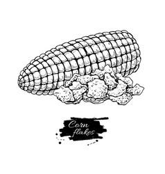 Corn flakes hand drawn heap vector