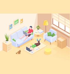 couple working home online freelance isometric vector image
