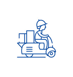 courier on a motor scooter line icon concept vector image