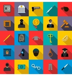 Crime icons set flat style vector image