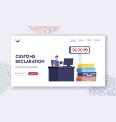 Customs officer work landing page template male vector