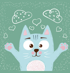 cute baby cat characters love vector image