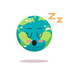 cute earth character sleeping cartoon mascot globe vector image