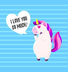 Cute greeting card with unicorn template vector