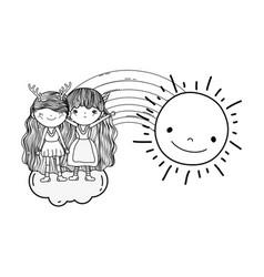 Cute little fairies couple with rainbow and sun vector