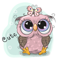 cute owl girl isolated on a blue background vector image